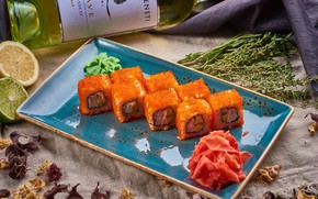 Picture wine, rolls, ginger