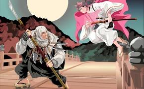 Picture red, sword, red hair, anime, katana, fight, ken, redhead, blade, samurai, assassin, asian, knife, manga, …