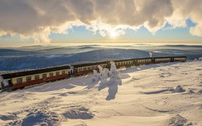 Wallpaper the car, Saxony-Anhalt, Germany, winter, snow, train