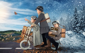Wallpaper winter, scooter, autumn, butterfly, suitcases, foliage, girls, butterfly, autumn, road, winter, children, snow, children