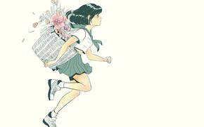 Picture flowers, basket, shoes, girl, white background, schoolgirl, runs, sailor