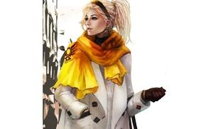 Picture girl, clothing, art, blonde, fashion, Overwatch, mercy, angela ziegler