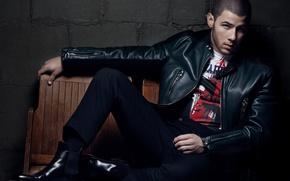 Picture pose, jacket, actor, photoshoot, singer, kozhanka, 2016, Essential Homme, Nick Jonas, Nick Jonas, Greg Lotus