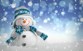Wallpaper winter, snow, New Year, Christmas, snowman, Christmas, winter, snow, Merry Christmas, Xmas, snowman, decoration