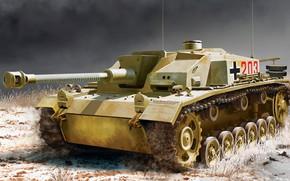 Picture SAU, self-propelled artillery, StuG III, 75 mm, Sturmgeschütz III, Sd.Car. 142, the average weight of ...