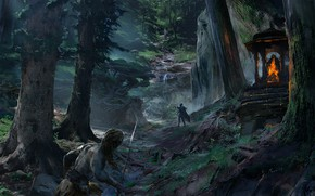 Picture forest, mountains, warrior, Hunt