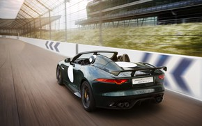 Picture asphalt, movement, speed, track, Jaguar, the fence, rear view, wing, dark green, V8, 575 HP, …