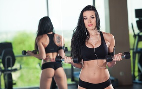 Wallpaper female, mirror, fitness, wokout