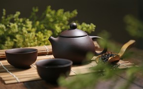Picture green, tea, kettle, drink, Mat, bowls
