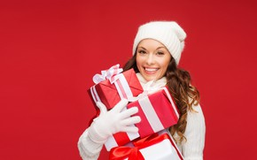 Picture girl, red, smile, background, holiday, hat, new year, Christmas, hairstyle, gifts, gloves, brown hair, in …