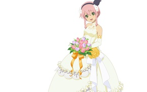 Picture bouquet, white background, the bride, wedding dress, ruffles, pink hair, the fluffy skirt, Tales of …