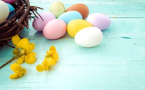Picture flowers, basket, eggs, spring, yellow, colorful, Easter, yellow, wood, pink, flowers, spring, Easter, eggs, decoration, ...
