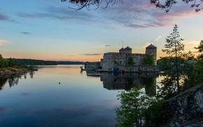 Picture forest, trees, sunset, river, shore, the evening, fortress, Finland, Savonlinna, Olavinlinna Castle