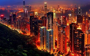 Picture night, the city, lights, the building, panorama, Hong Kong