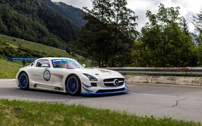 Wallpaper Mercedes, White, SLS, GT3R
