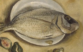 Picture fish, picture, plate, still life, Salvador Dali, Salvador Dali, figs, Salem