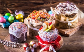 Wallpaper eggs, Easter, Verba, cakes