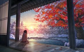 Wallpaper autumn, girl, tree, anime, art