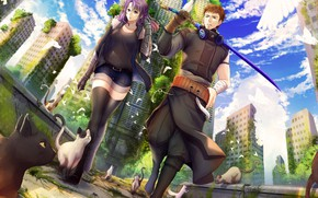 Picture girl, the city, anime, guy, two