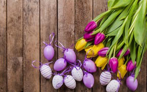 Wallpaper flowers, eggs, decor, table, easter, tulips, tulips