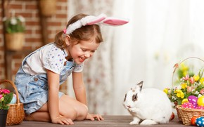 Picture flowers, rabbit, girl
