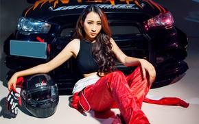 Picture look, Girls, Mitsubishi, beautiful girl, sitting on the machine, Asian woman.auto