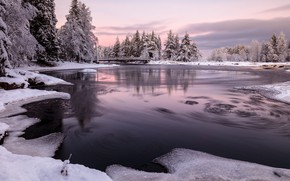 Picture winter, forest, snow, trees, landscape, bridge, nature, river, Finland, Jarkko Jokelainen