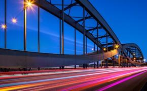 Wallpaper night, bridge, lights