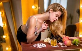 Picture pose, model, hair, apples, grapes, honey, Sergei Savin, Anna Romanova