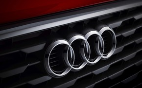 Picture Audi, Emblem, Red, Rings, Logo