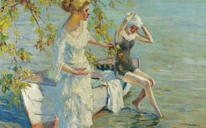 Wallpaper picture, Bathers, boat, Edward Cucuel, Edward Cucuel, girls