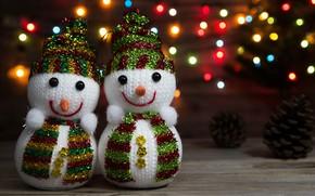 Picture winter, New year, snowmen, garland, bumps, bokeh, 2018