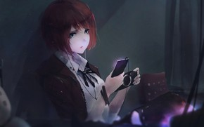 Picture girl, wire, anime, headphones, art, phone, aoi ogata