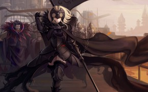 Wallpaper weapons, joan of arc, warrior, fate, anime, fate/grand order, girl, fate/apocrypha, jeanne age, chain