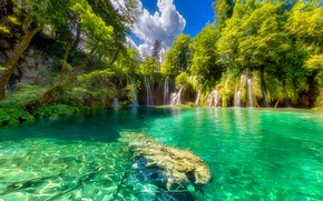 Picture greens, forest, the sky, the sun, clouds, trees, lake, waterfall, Croatia, Plitvice Lakes National Park