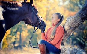 Picture autumn, girl, the sun, tree, horse, jeans, boots, hairstyle, blonde, gloves, sweater, bokeh