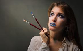 Picture girl, makeup, brush, MARIA