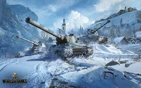 Picture snow, mountains, village, tanks, World of Tanks