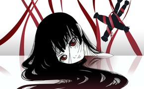 Picture void, loneliness, red eyes, black hair, madness, red ribbon, the voodoo doll, Enma Ai, Jigoku …