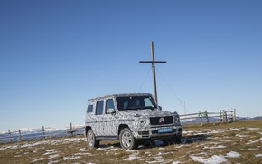 Picture the sky, vegetation, the fence, Mercedes-Benz, disguise, 2018, G-Class, tests