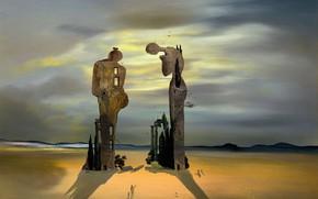 Wallpaper surrealism, picture, Salvador Dali, Salvador Dali, Archeological Reminiscence Millet Angelus