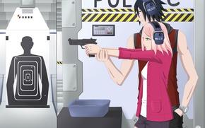Picture gun, anime, Sakura, pair, two, Sasuke, Naruto, art