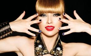 Picture look, girl, model, makeup, blonde, decoration, manicure, Anna Subbotina