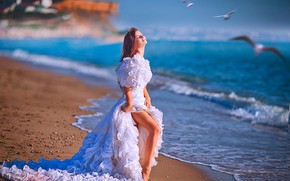 Picture sand, sea, beach, girl, the sun, birds, seagulls, dress, red, the bride, in white, bokeh