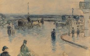 Picture figure, watercolor, the urban landscape, Camille Pissarro, Rouen under the Rain