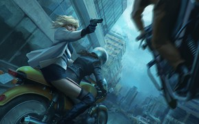 Wallpaper helmet, bike, motorcycle, Lorraine Broughton, art, girl, Atomic Blonde, chase, Charlize Theron, gun