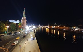 Picture Moscow, night city, the Moscow river, Moscow at night