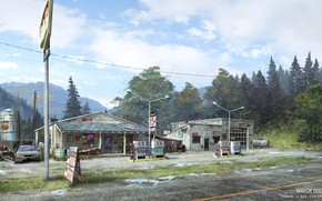 Picture forest, mountains, station, gas station, Watch Dogs - environments