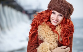 Picture winter, girl, smile, background, hat, portrait, makeup, hairstyle, gloves, fur, red, beautiful, bokeh, sheepskin