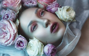 Picture girl, flowers, face, style, roses, makeup, buds, Katerina Klio